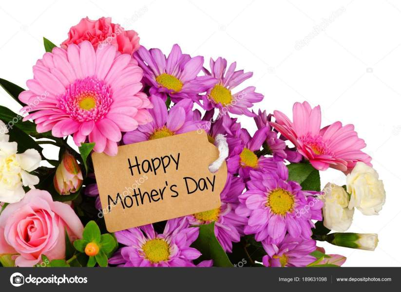 Happy Mothers Day Tag Close Bouquet Flowers White Background     Stock     Happy Mothers Day tag close up among a bouquet of flowers over a white  background     Photo by JeniFoto