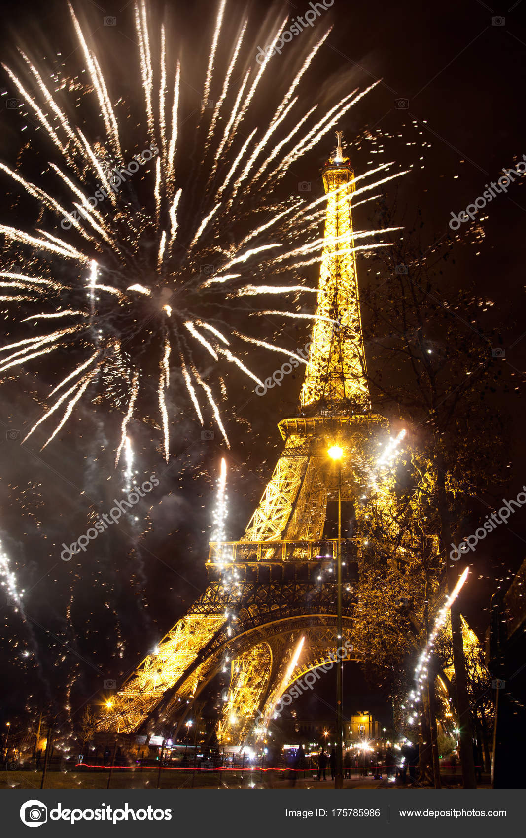 celebrating New Year in the city   Eiffel tower  Paris  France     Celebrating New Year in the city   Eiffel tower  Paris  France  with  fireworks     Photo by melis82