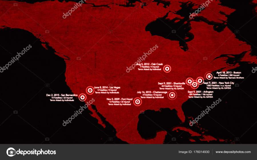 Map of Major Terrorist Attacks in the USA between 2000 2016     Stock     Map of Major Terrorist Attacks in the USA between 2000 2016     Stock Photo