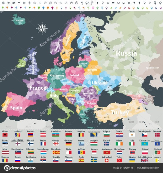 map of Europe colored by countries with regions borders  Flags of     Map of Europe colored by countries with regions borders  Flags of all european  countries