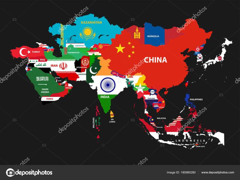 Vector Illustration Asia Continent Map Countries Mixed National     Vector Illustration Asia Continent Map Countries Mixed National Flags      Stock Vector