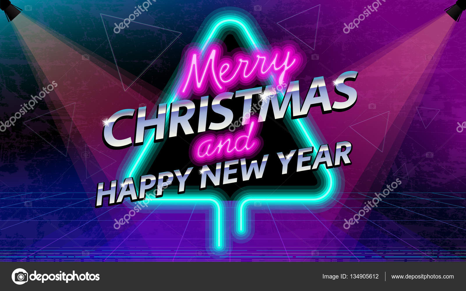 Merry Christmas and New Year social media neon light banner  Retro     Merry Christmas and New Year social media neon light banner  Retro style  80 s disco post