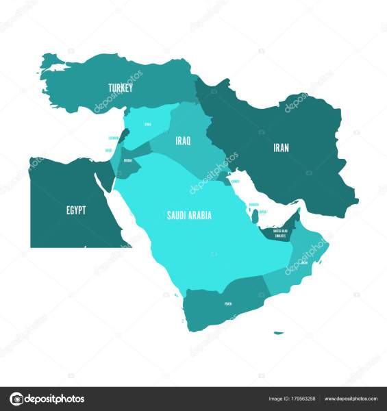 Map of Middle East  or Near East  in shades of turquoise blue     Map of Middle East  or Near East  in shades of turquoise blue  Simple