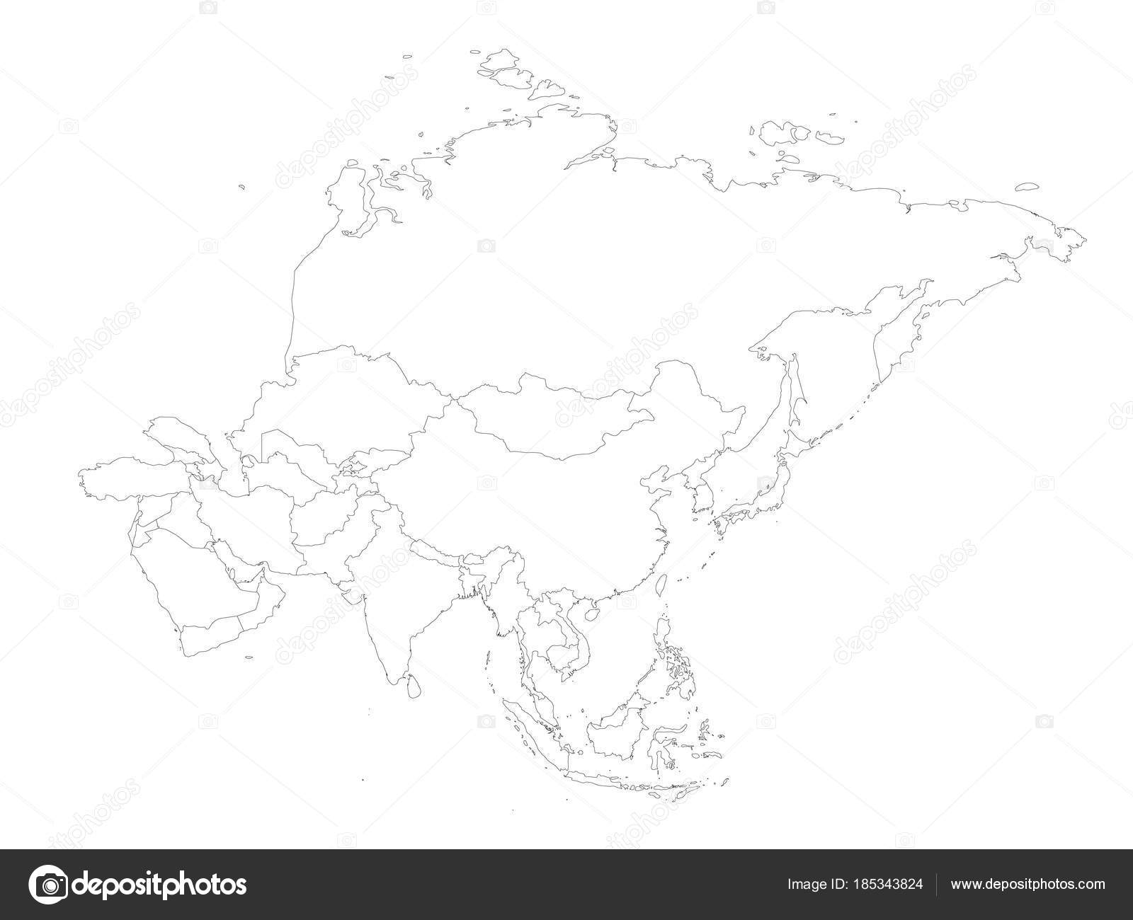 Blank political outline map of Asia continent  Vector illustration     Blank political outline map of Asia continent  Vector illustration     Stock  Vector