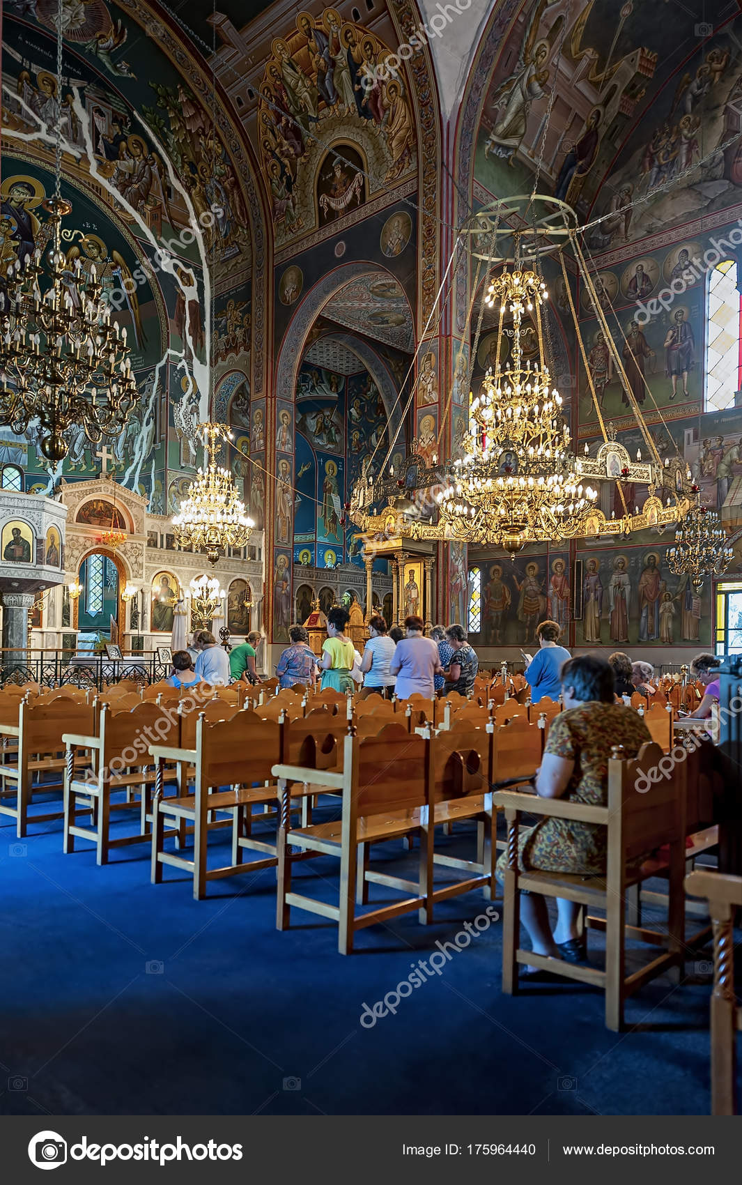 Athens Greece August 2014 Interior Athens Greece Holy Trinity Church     Athens Greece August 2014 Interior Athens Greece Holy Trinity Church      Stock Photo