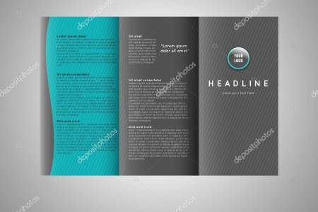 Business trifold brochure template design  Wavy lines background and     Business tri fold brochure template design  Wavy lines background and world  map infographic element  Place for photo  Stock vector
