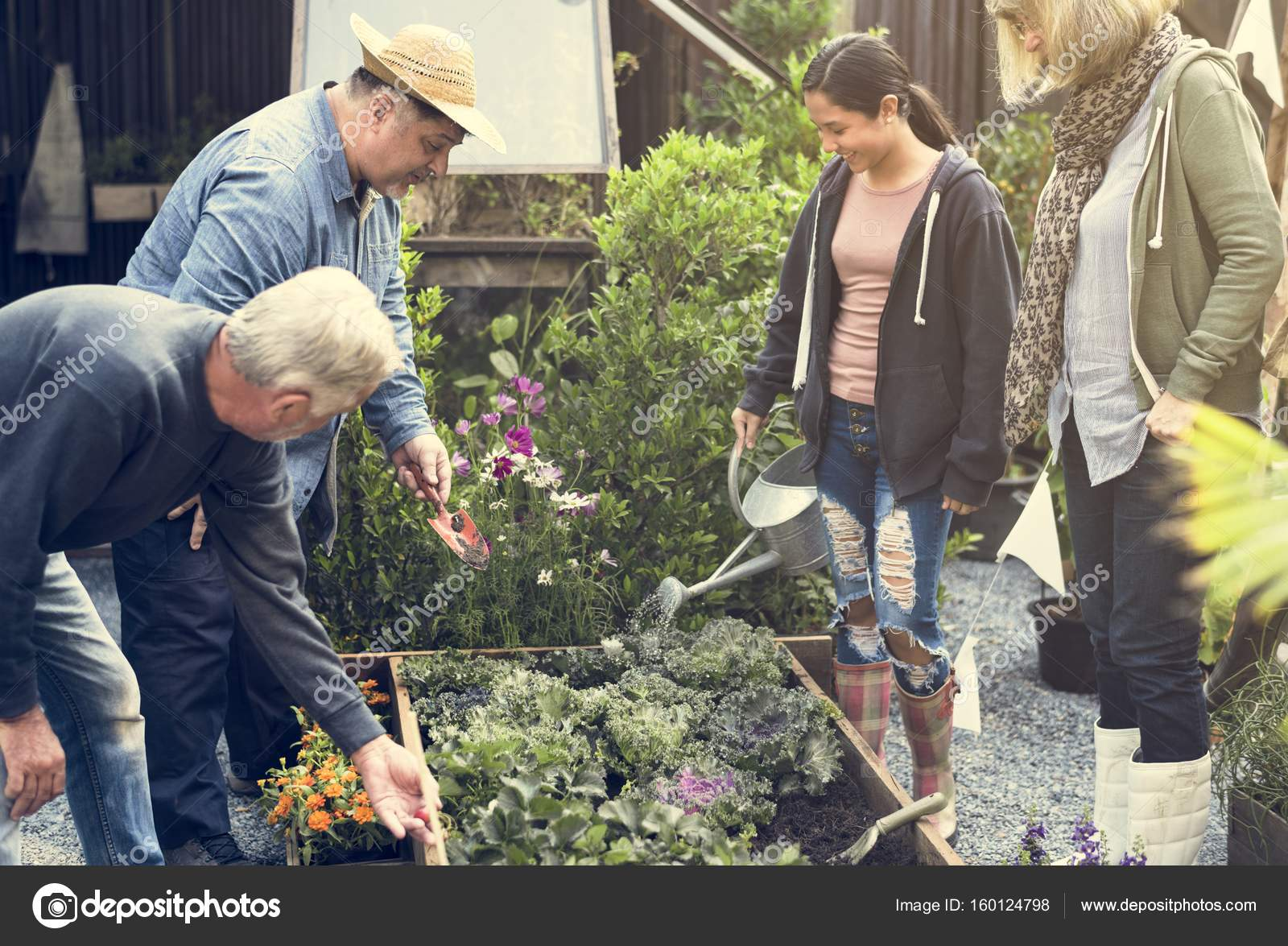 people gardening on backyard together — Stock Photo ...