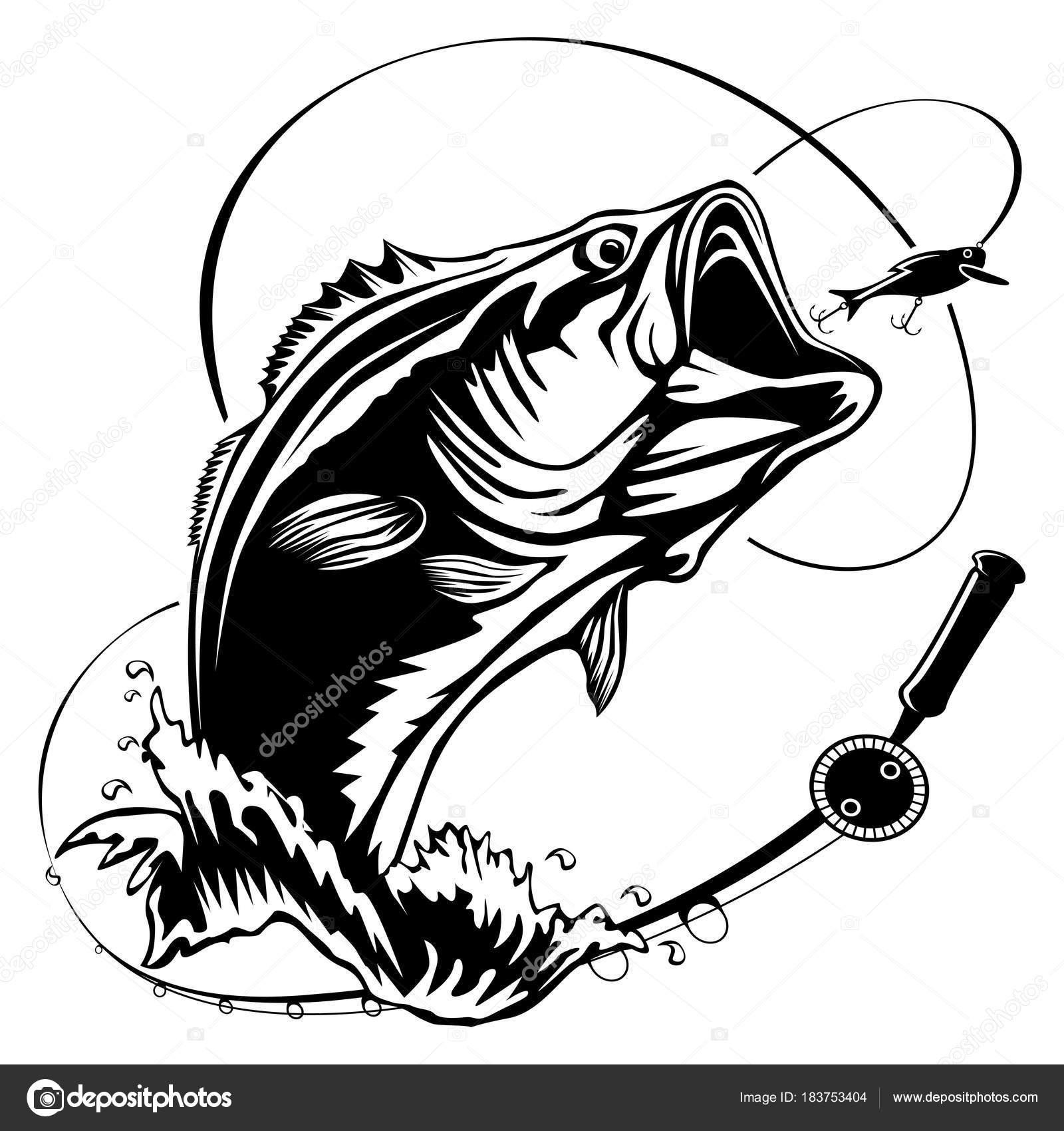 Black And White Fish Fishing Pole