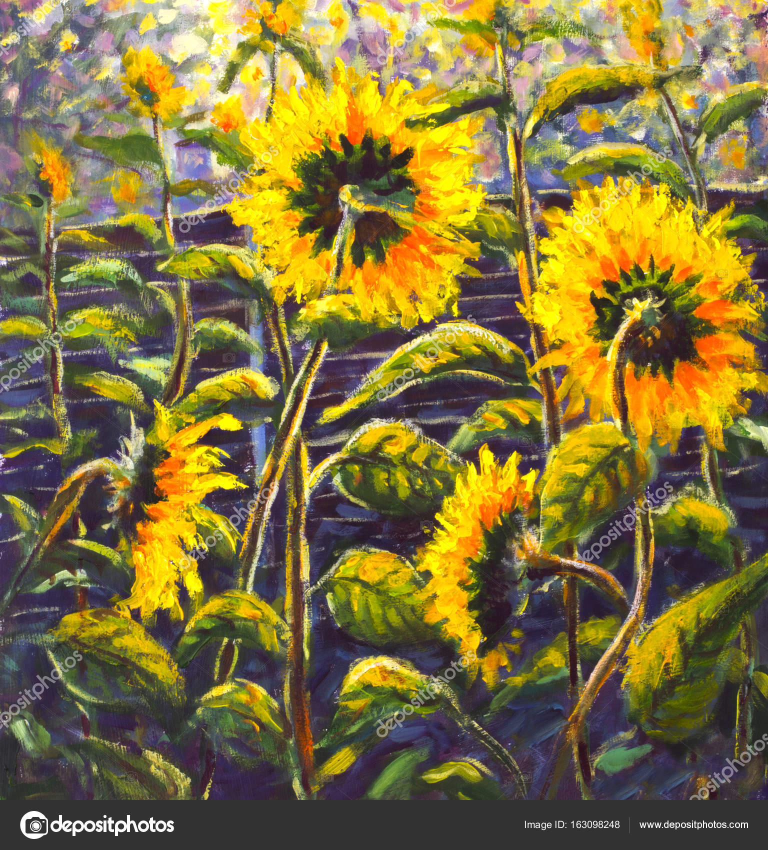 Sunflowers Acrylic  Oil painting Original handpainted art of     Sunflowers Acrylic  Oil painting Original handpainted art of sunflower  flowers  beautiful gold sunflowers in