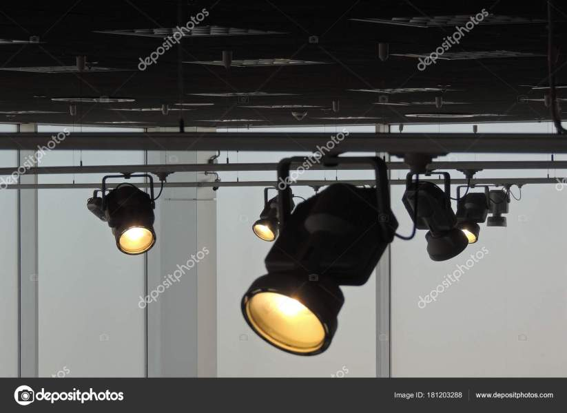 Tracking Spotlights Shines Ceiling Rail System     Stock Photo     Tracking Spotlights Shines Ceiling Rail System     Stock Photo
