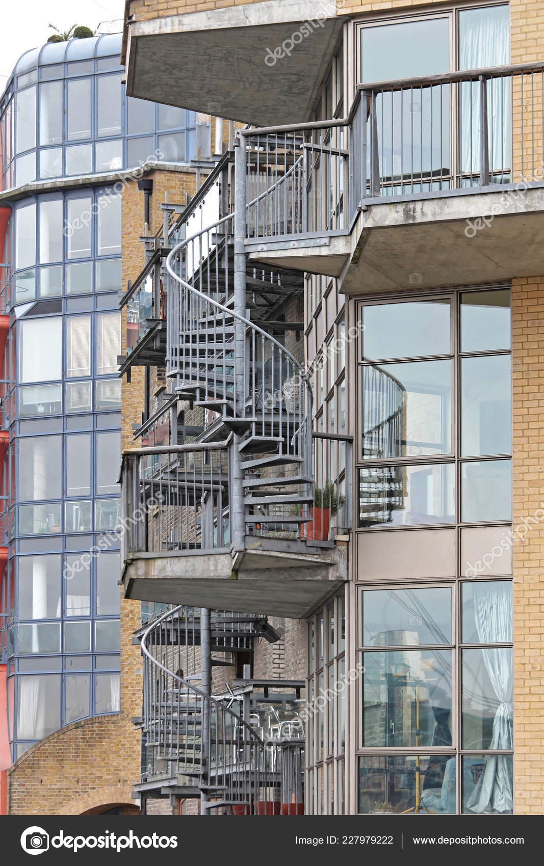 External Spiral Staircase Made Steel Fire Escape Safety — Stock | External Metal Fire Escape Stairs | Metal Railings | Stock Photo | Stair Railing | External Spiral Staircase | Fire Safety