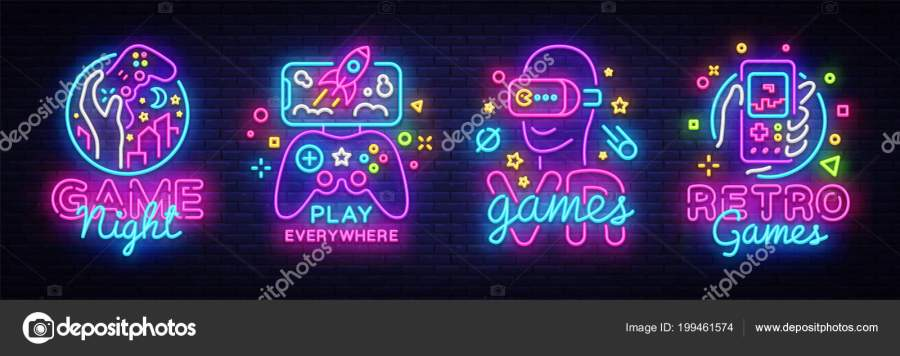 Video Games logos collection neon sign Vector design template     Video Games logos collection neon sign Vector design template  Conceptual  Vr games  Retro Game night logo