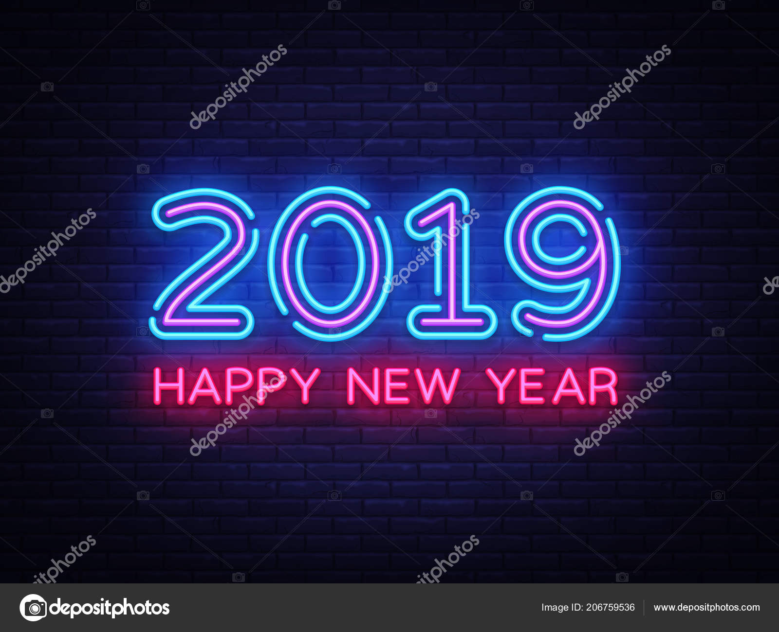 2019 Happy New Year Neon Text  2019 New Year Design template for     2019 Happy New Year Neon Text  2019 New Year Design template for Seasonal  Flyers and
