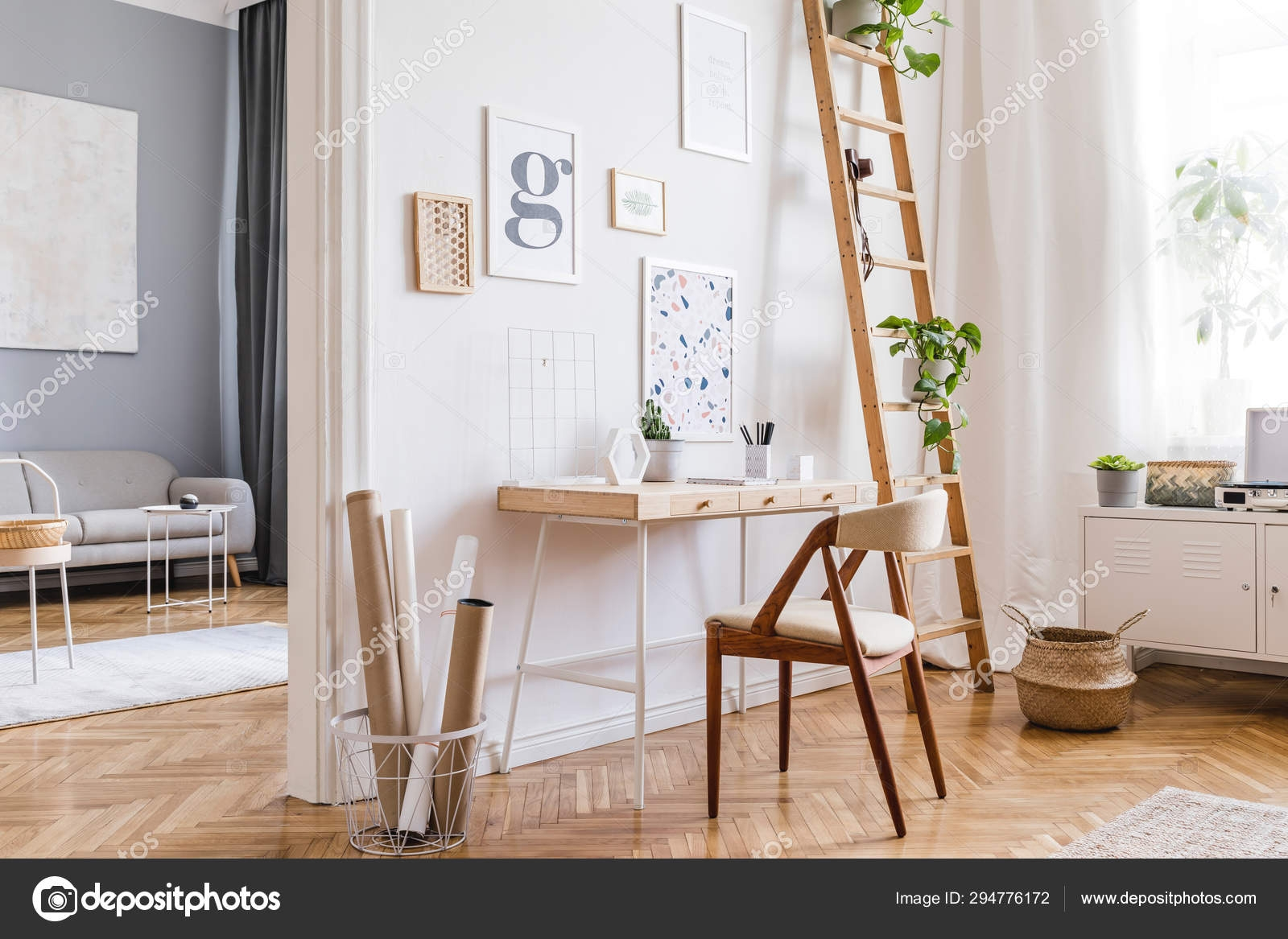 Design Scandinavian Interior Home Space Stylish Chair Wooden Desk   Ladder Design For Home   Decor   Space Saving   Room   Tiny House   Italian
