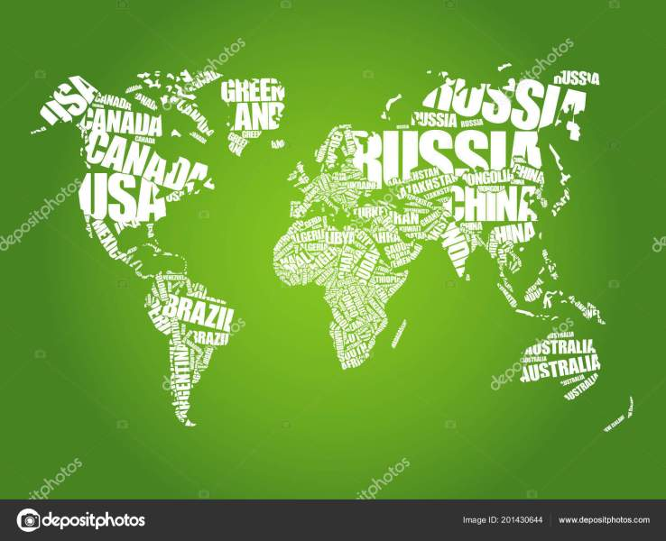 World Map Typography Word Cloud Names Countries Education Business     World Map Typography Word Cloud Names Countries Education Business Concept      Stock Vector