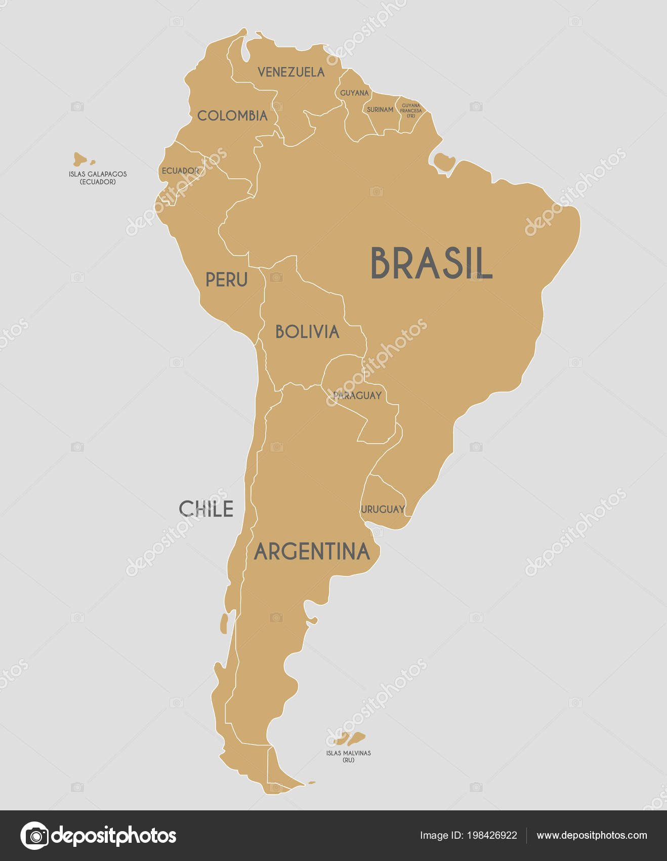 Political South America Map Vector Illustration Country Names     Political South America Map Vector Illustration Country Names Spanish  Editable     Stock Vector