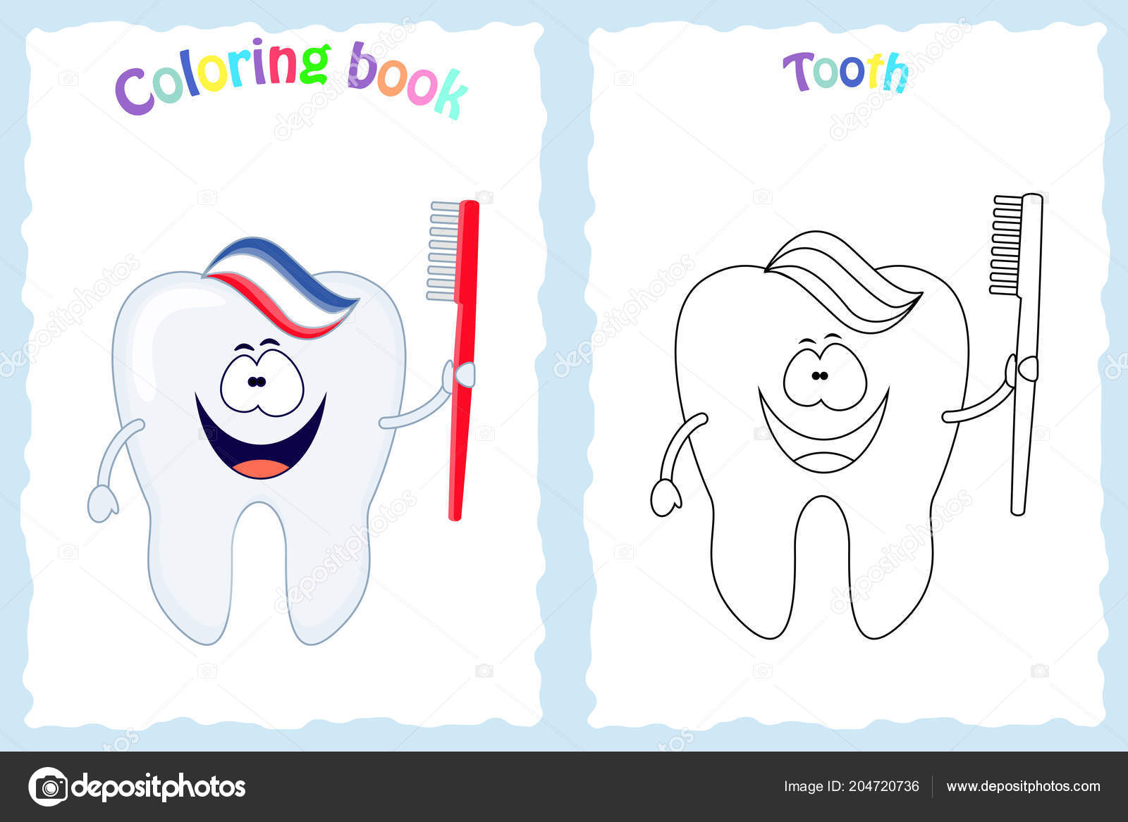 Coloring book page for children with colorful tooth with brush     Coloring book page for children with colorful tooth with brush and  toothpaste and sketch to color  Preschool education  Vector illustration   Kids activity