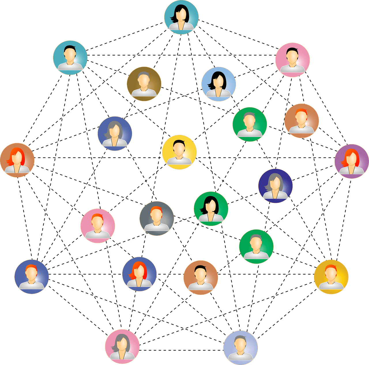 Illustration of network of people