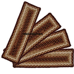 Amish Braided Stair Treads | Braided Stair Treads With Rubber Backing | Non Slip | Skid Resistant | Anti Slip | Heritage Farms | Slip Resistant
