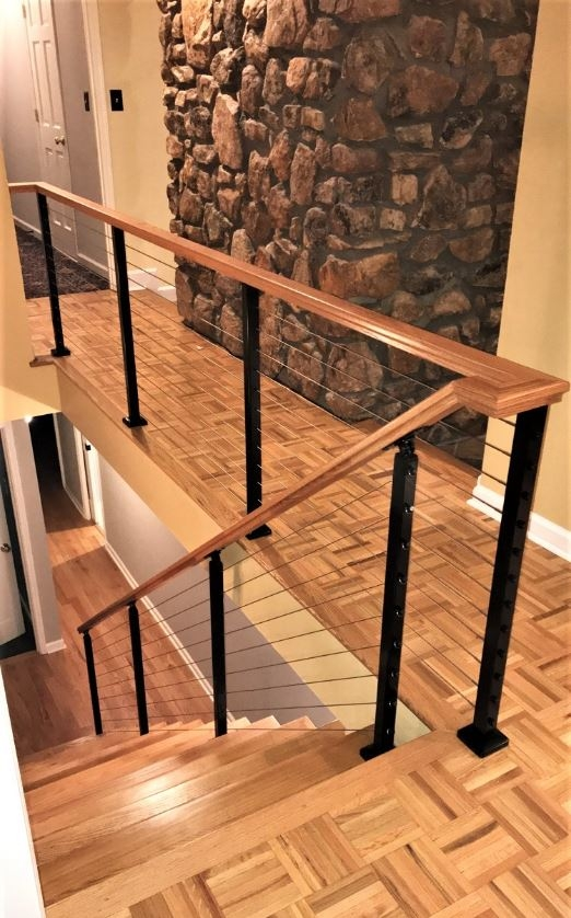Modern Railing Systems In Wood Cable Wire Stainless Steel Glass | Wood And Wire Stair Railing | Before And After | Coastal | Natural Wood | Residential | Utility Panel