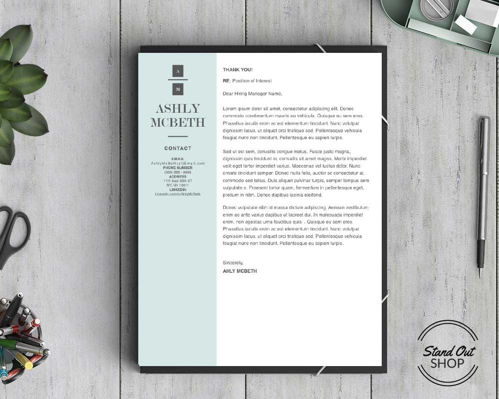 Ashly McBeth Resume Template   Stand Out Shop Ashly McBeth Downloadable Resume   Cover Template and Cover Letter Template  for Microsoft Word and Apple