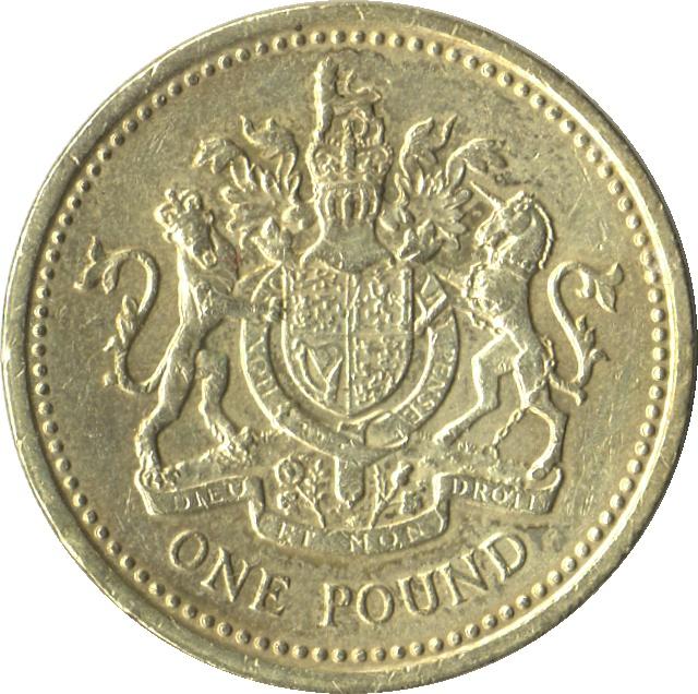 1 Pound Elizabeth Ii 2nd Portrait Royal Arms United