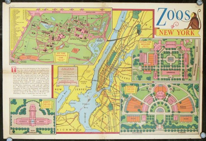 The Latitude   Longitude of Collectible Maps Zoos of New York