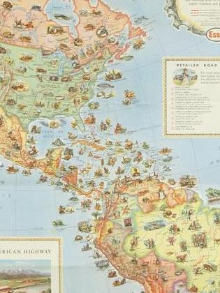 HD Decor Images » The Latitude   Longitude of Collectible Maps Pictorial Map of the Americas