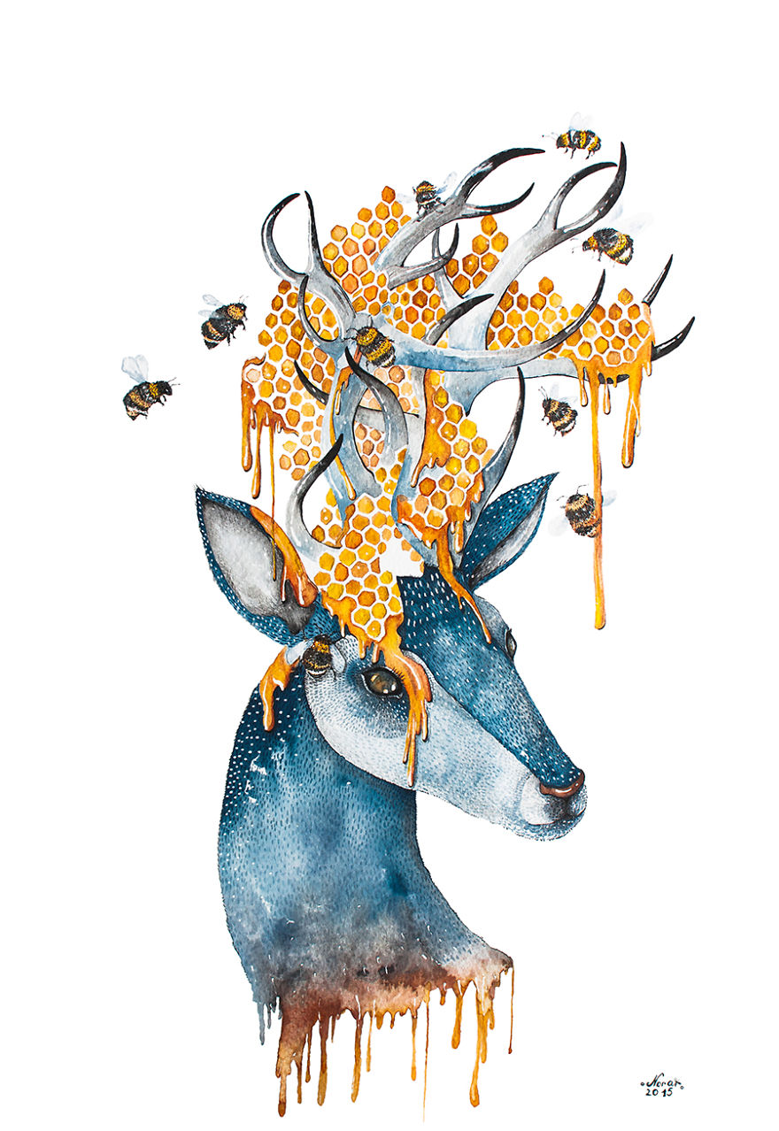 Watercolor And Ink Paintings Of Animals | Bored Panda