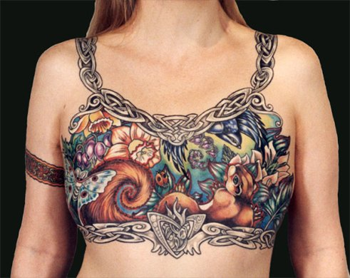Tattoo Artists Cover Breast Cancer Survivors  Scars With Beautiful     breast cancer survivors mastectomy tattoos art 4