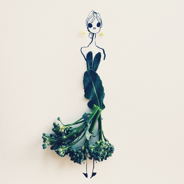 Fashion Illustrator Completes Her Dress Sketches With Food   Bored Panda food fashion sketches gretchen roehrs 9