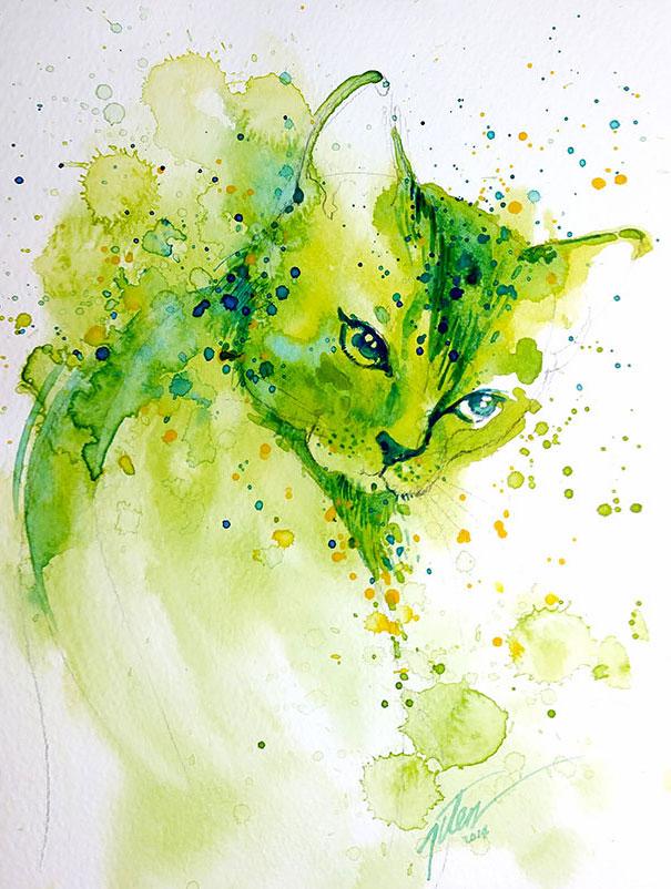 Splashed Watercolor Paintings By Tilen Ti | Bored Panda
