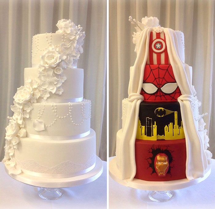 This Couple Had The Best Compromise And Went With A  Two Face     wedding cake marvel superheroes dc comics tier by