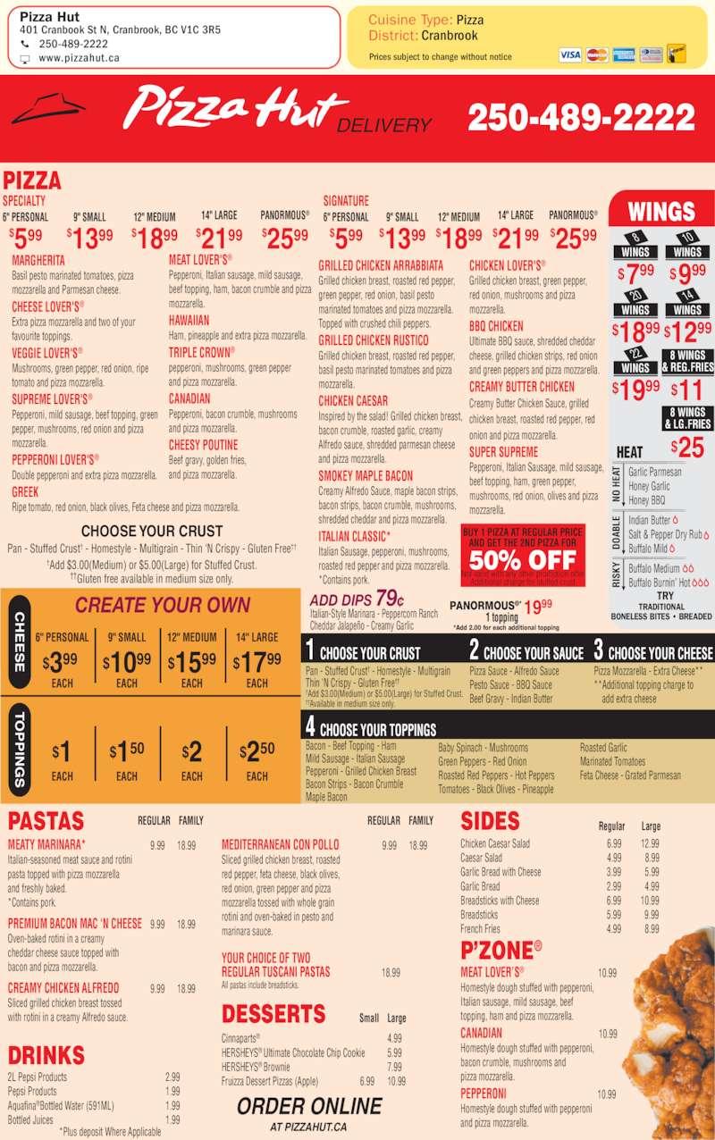 Menu Out Print Hut Pizza