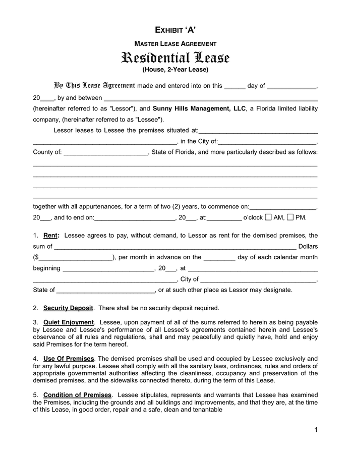 Florida Condo Lease Agreement Template