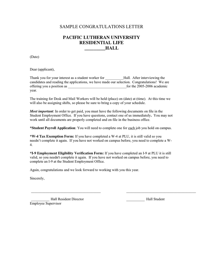 Congratulations Letter Template