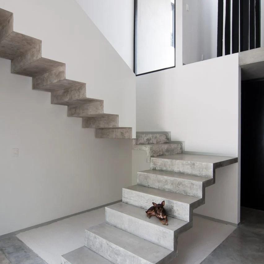 10 Popular Concrete Home Interiors From Dezeen S Pinterest Boards   Interior Concrete Stairs Design   Architecture   House   White Matte Concrete   Urban   Dark Wood Modern