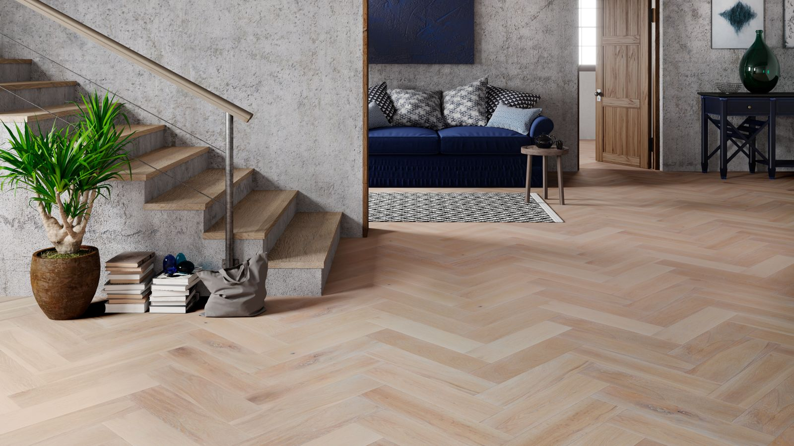 Natura Oak Smoked Brushed White Oiled Herringbone Engineered Parquet