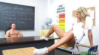 blonde schoolgirl seducing her teacher to get fucked