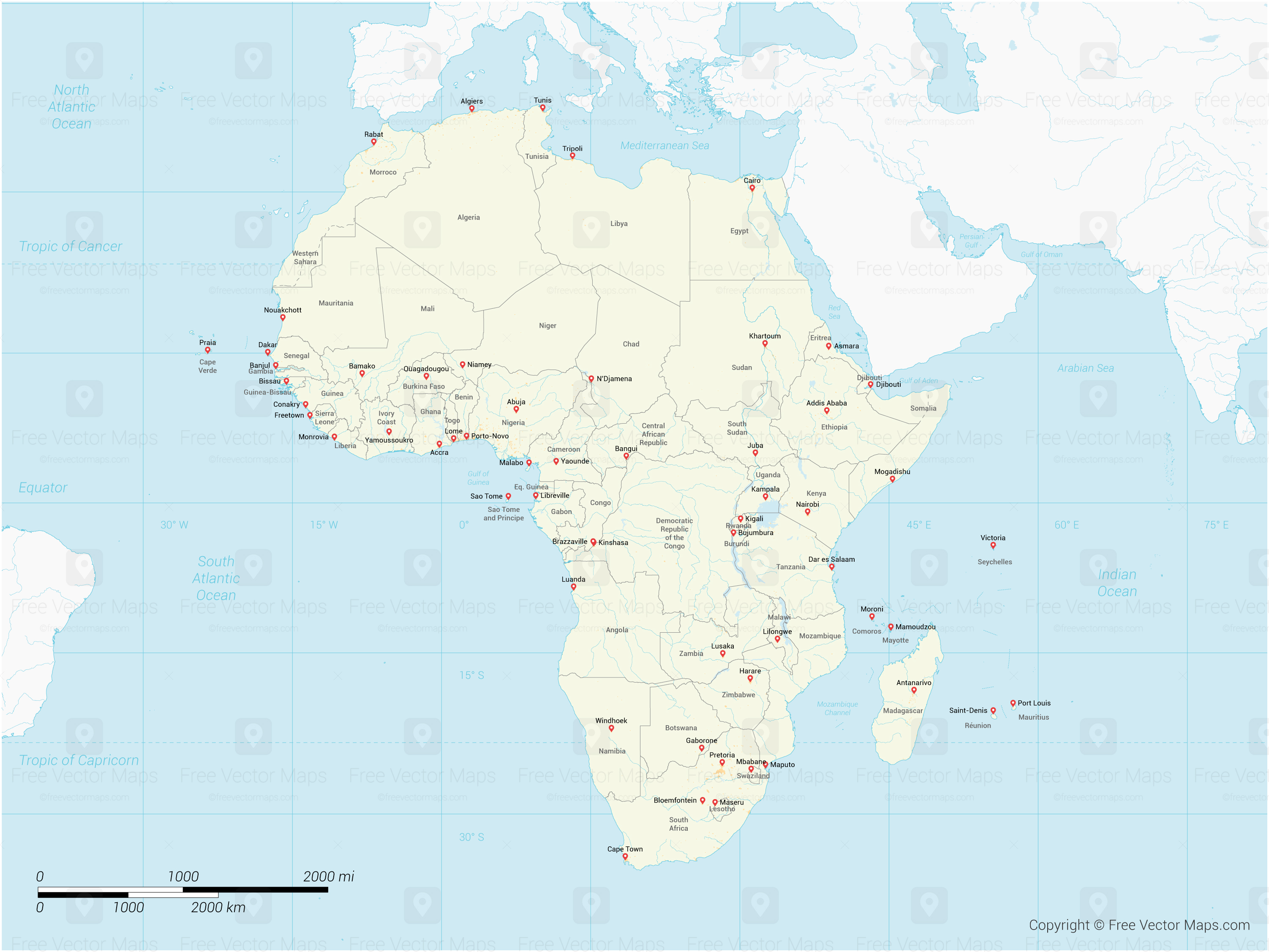 Vector Map of Africa with Countries   Free Vector Maps Map of Africa with Countries