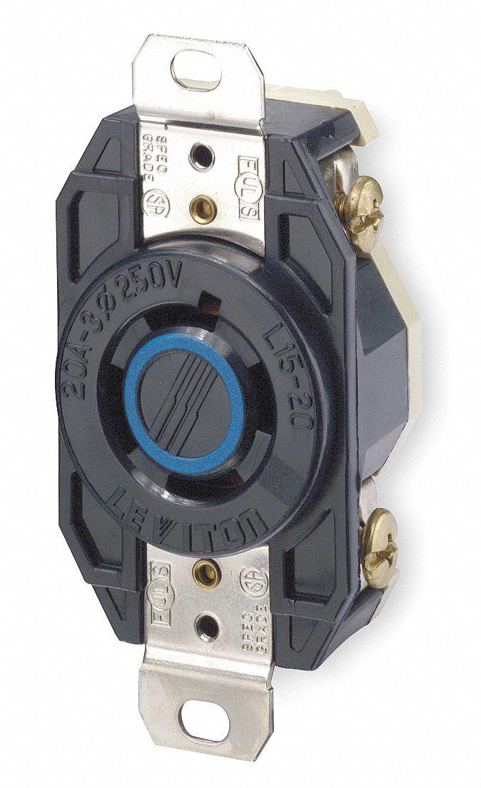 Leviton Black Locking Receptacle 20 Amps 240vac Voltage