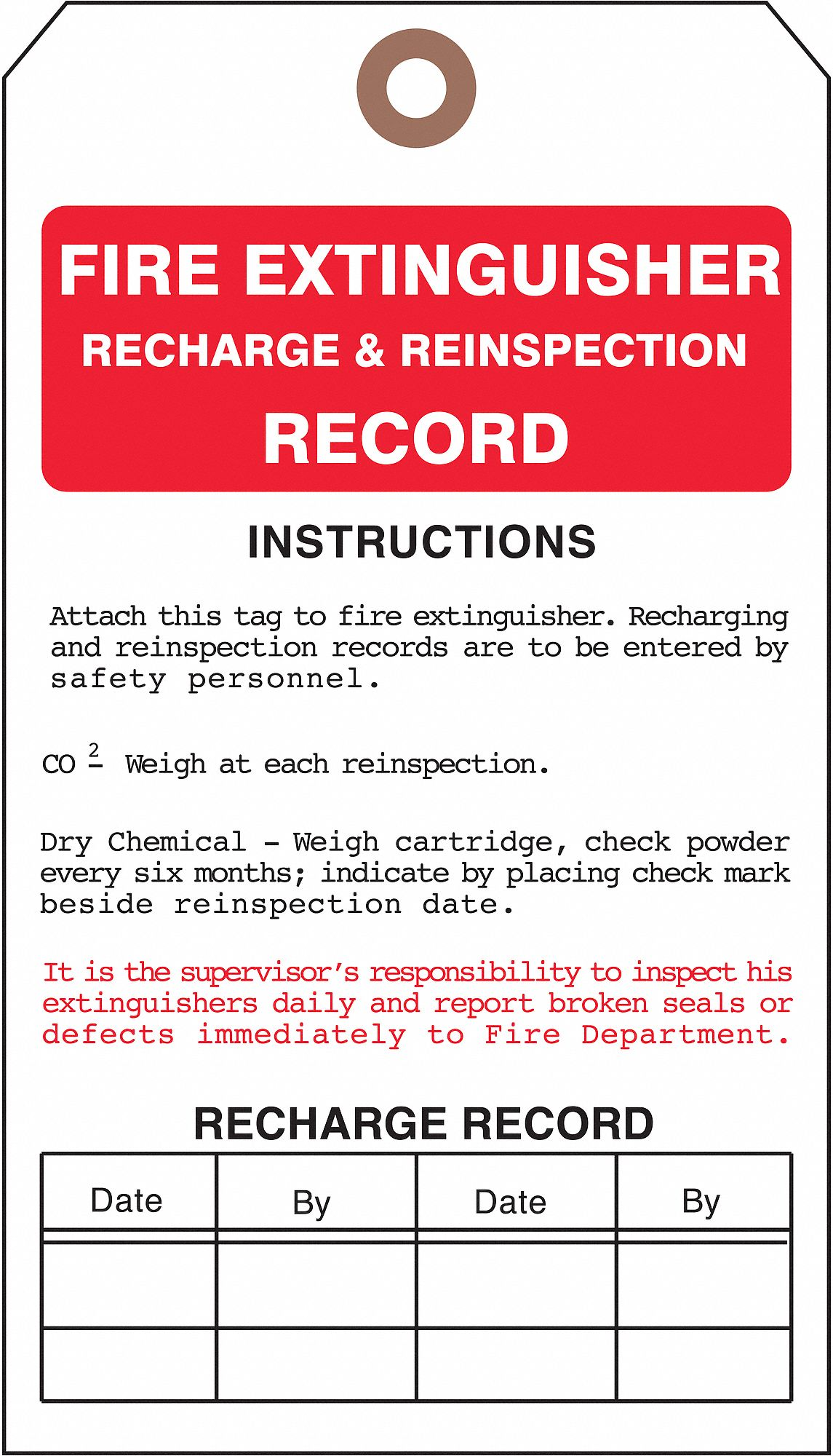 SEE ALL INDUSTRIES Cardstock Fire Extinguisher Record ...