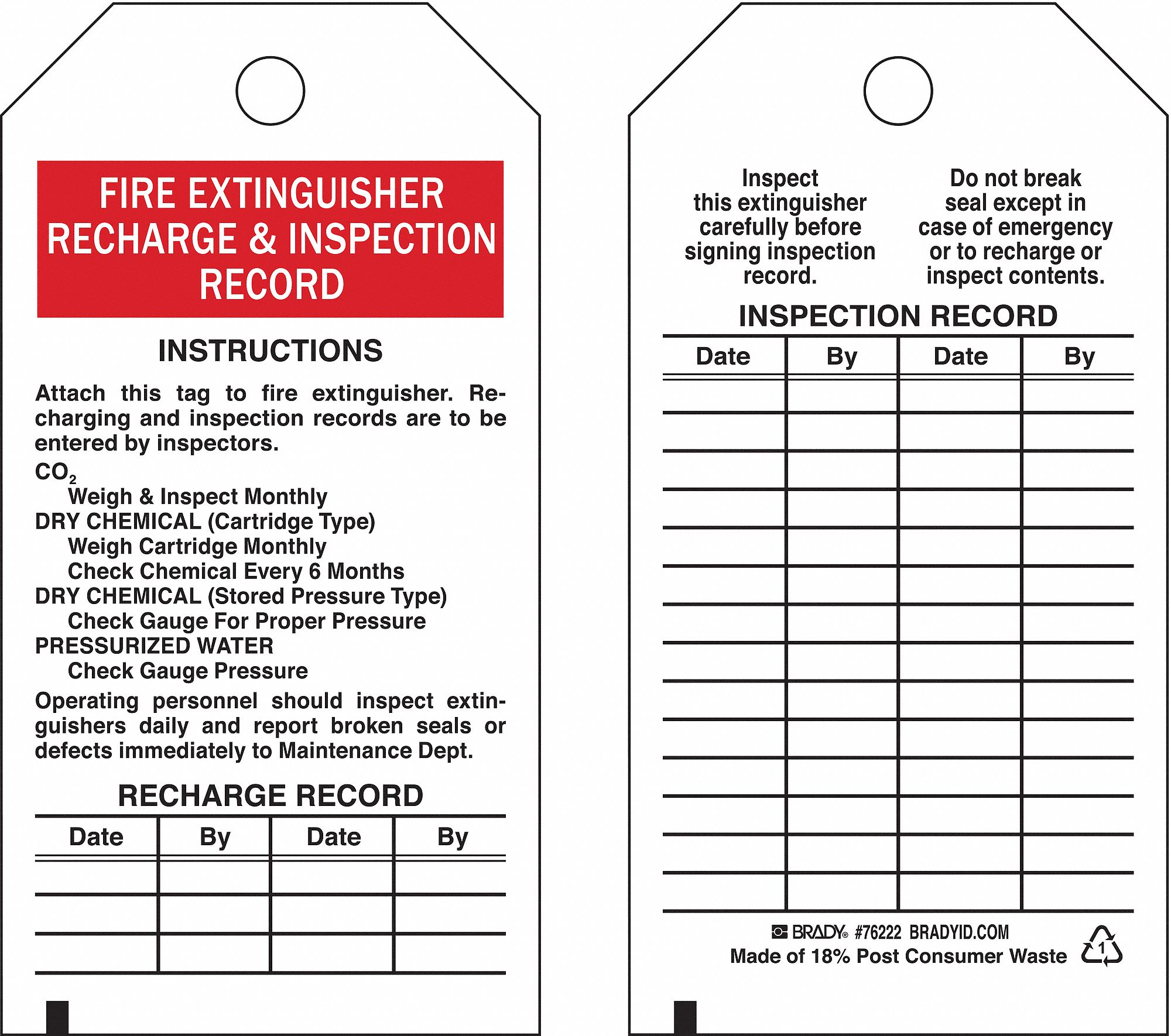 BRADY Fire Extinguisher Tag, Polyester, Height: 5-3/4 ...