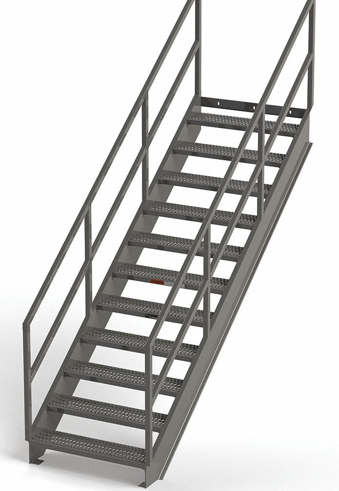 Grainger Approved Carbon Steel Stair Unit 84 In Top Step Height   Steel Steps For Stairs   Iron Plate   Steel Structure   2 Step   Metal Floor Plate   Double Stringer