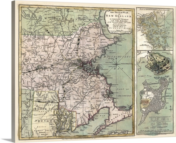 Antique Map of Massachusetts  1775 Wall Art  Canvas Prints  Framed     Antique Map of Massachusetts  1775