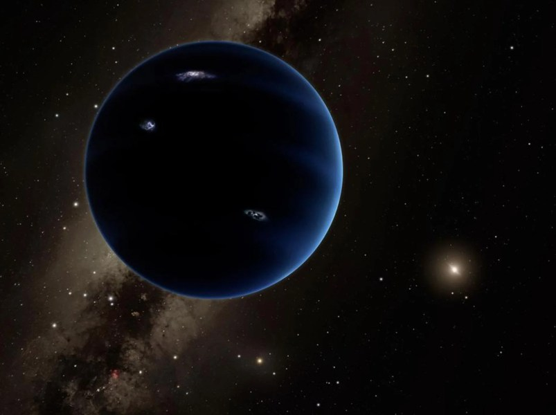 Planet 9  Secret  dark world possibly hiding within our solar system     This artistic rendering shows the distant view from Planet Nine back  towards the sun  The