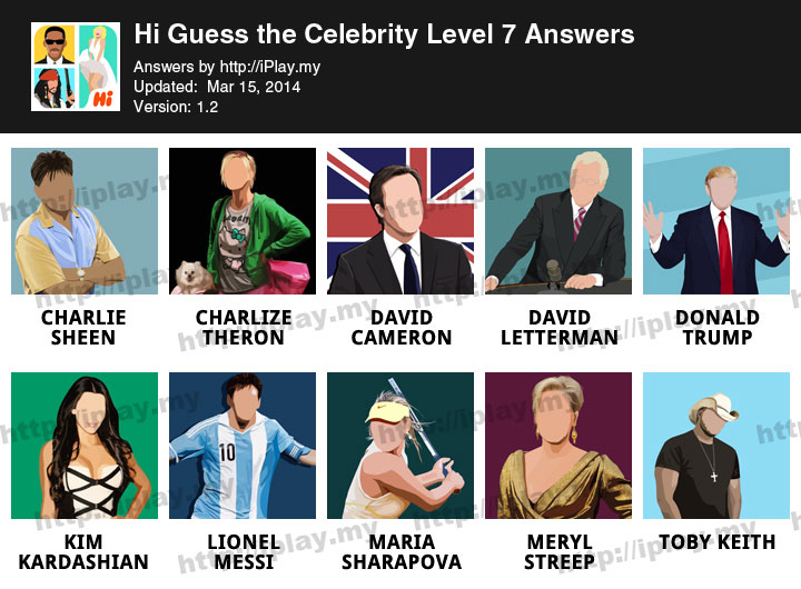 Hi Guess the Celebrity Answers All Levels | iPlay.my
