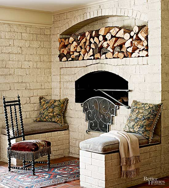 Fireplace Cobblestone Walls