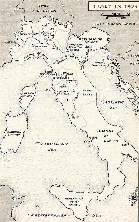 Map Renaissance Italy 1494