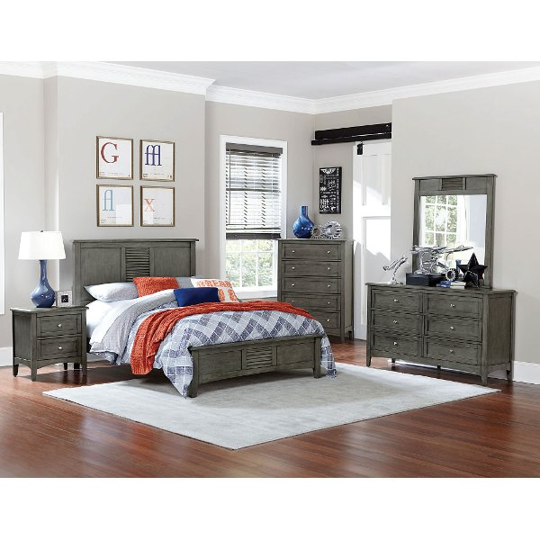 Browse full size bed sets   RC Willey Furniture Store     Casual Classic Gray 6 Piece Full Bedroom Set   Garcia